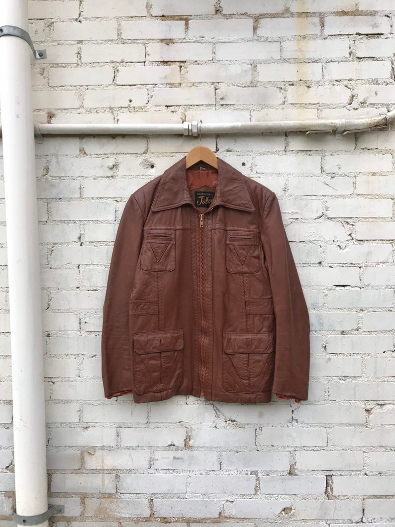 1970s Brown Leather Western Zip-Up Jacket / Vintage Leathers image 0