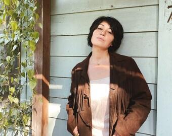 Vtg 70s Brown Suede Fringe Jacket / Western Cowboy Leather Jacket / Mens M / Women's XL