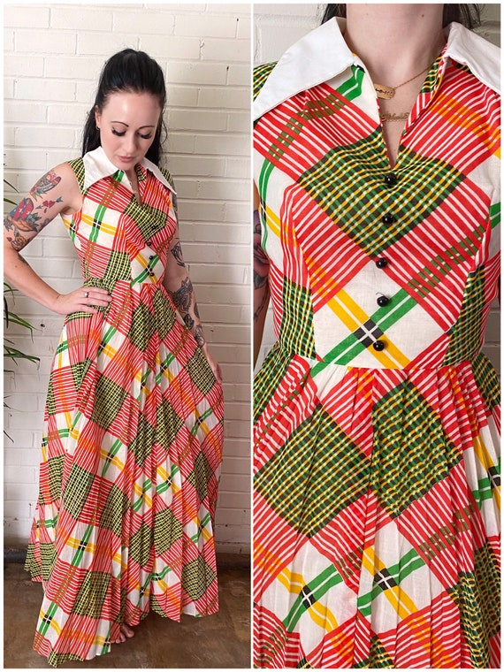 1960s Bright Plaid Accordion Pleat Fit and Flare M