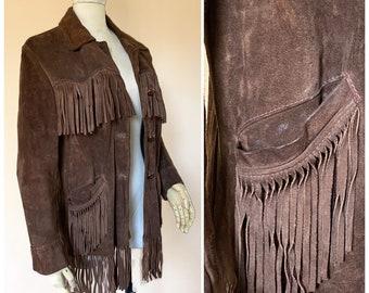 Vtg 60s Brown Suede Fringe Southwestern Jacket / Leather Fringe Cowboy Coat