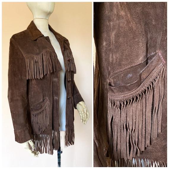 Vtg 60s Brown Suede Fringe Southwestern Jacket / … - image 1