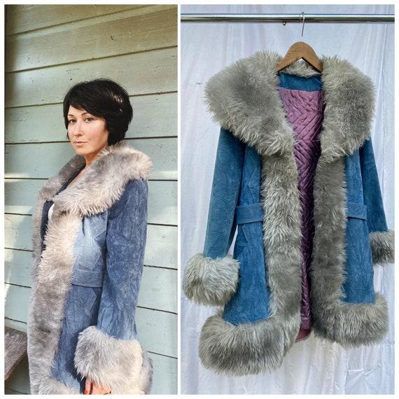 Vtg 70s Penny Lane Blue Crushed Velvet Coat / Faux