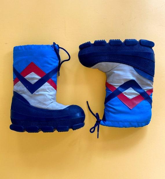 Vtg 80s Blue/Red/White Moon Boots / Platform Insul