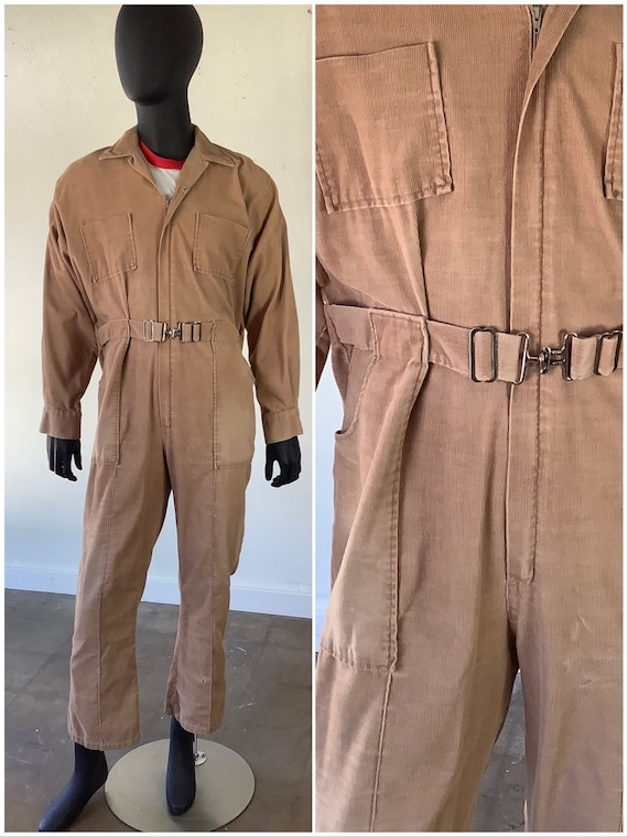 1970s Brown Corduroy Belted Coveralls / Long Sleev