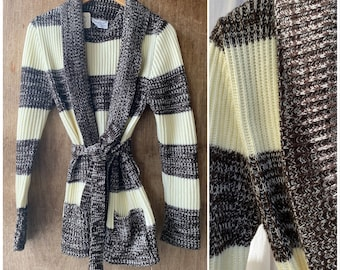 Vtg 70s Space Dyed Knit Cardigan / Ribbed Belted Sweater / Medium - Large