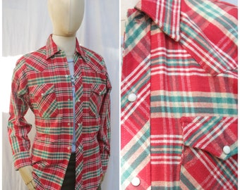 Vtg 80s Buffalo Bill Flannel Pearl Snap Red And Green Shirt / Mens S/M