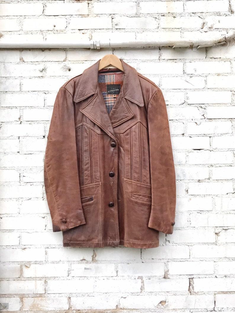 1970s JC Penney Brown Leather Blanket Lined Jacket / Vintage image 0