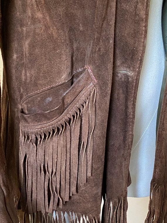 Vtg 60s Brown Suede Fringe Southwestern Jacket / … - image 6