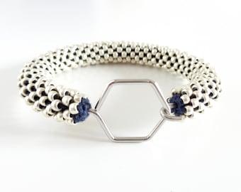 Bracelet hexagon // Aluminum Bracelet // Geometric Bracelet // Bracelet Honeycomb // Beaded Rope bracelet // Crochet Bead Bangle //