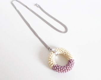 Circle Necklace // Long Pendant Necklace // Crochet Rope Necklace // Beaded Necklace // Pastel Gift idea