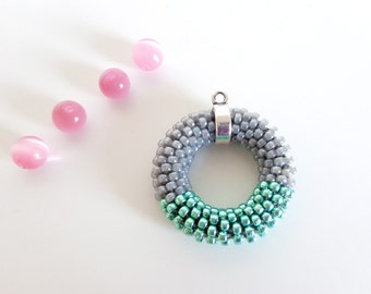 Circle Necklace // Long Pendant Necklace // Mint Green Rope Necklace // Gray Beaded Necklace // Pastel Gift idea