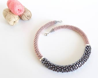 Blush Pink Necklace // Beaded Rope Necklace // Crochet Necklace Gift Idea // Pink Necklace // Mother's Day Gift Idea // Gray Necklace