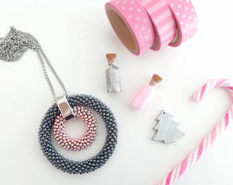 Long Necklace // Long Chain Necklace // Pendant Necklace //Beaded Necklace // Crochet Rope Necklace // Silver Chain Necklace // Gift idea