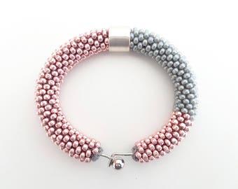 Pink Bracelet // Gray Crochet Rope Bracelet // Pastel Bracelet // Blush Pink Bracelet // Cuff Bracelet // Beaded Rope bracelet