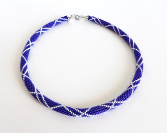 Blue&White Beaded Necklace/Mother's Day Gift/Luxury jewel/Urban chic jewelry/Beaded Accessories/Crocheted necklace. Made to Order