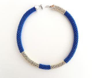 Blue Necklace // Beaded Rope Necklace // Mother's Day Gift // Aluminum Crocheted Necklace// Statement Necklace // For Her // Virtù n.1