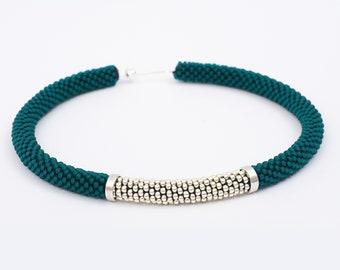Curve Collar Necklace // Bead Crochet Jewel // Aluminum Necklace // Silver Rigid Necklace // Teal Necklace // Beaded Choker // Summer Jewel