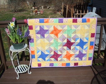 Baby Quilt Handmade, Ladybugs, crib bedding, baby room decor, baby girl, bright colors, handmade, pinwheels, play quilt, baby blanket