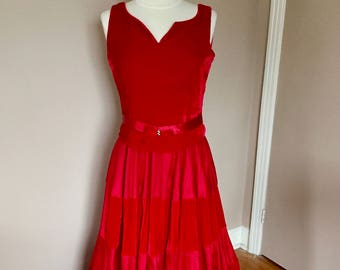 Vintage Red Velvet Gown Rhinestone Bows Full Length Dress