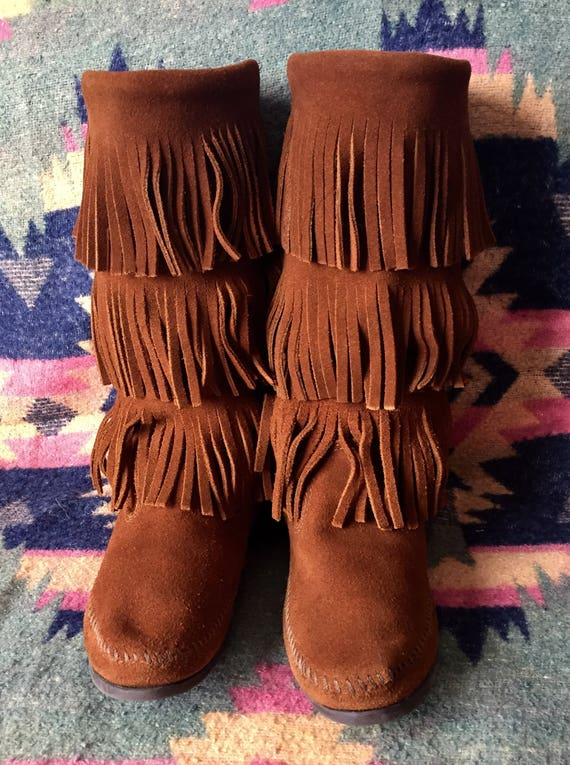 Minnetonka Moccassin Boots Fringed Suede