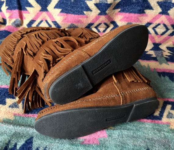 Minnetonka Moccassin Boots Fringed Suede - image 3