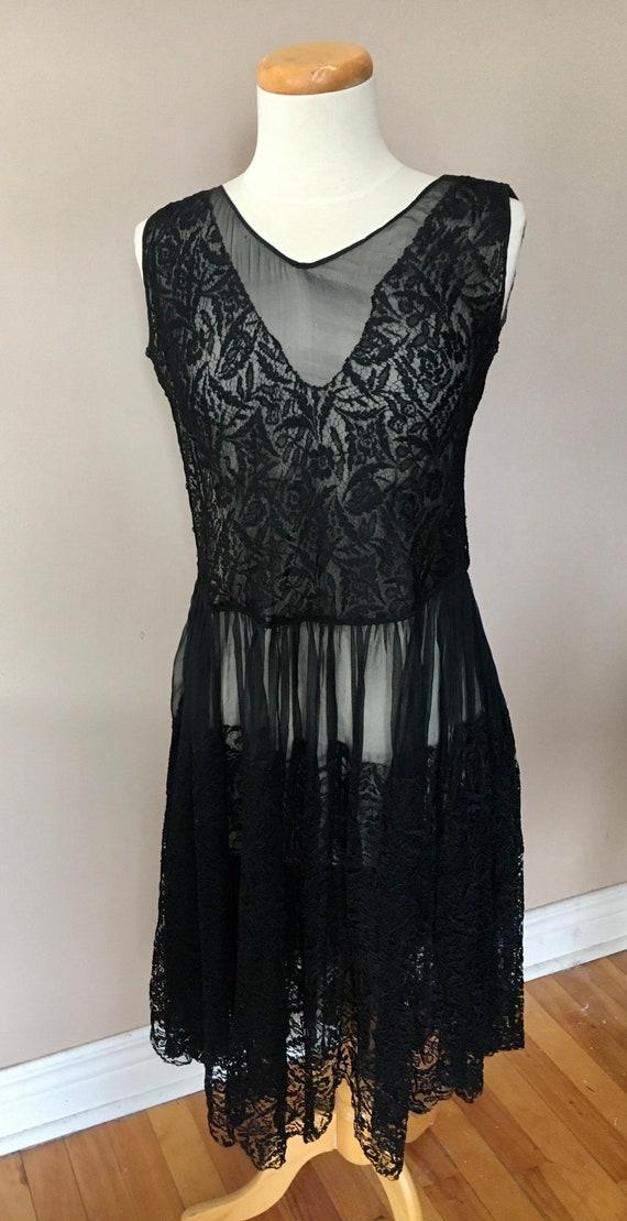 Vintage Black Lace 1930's Dress