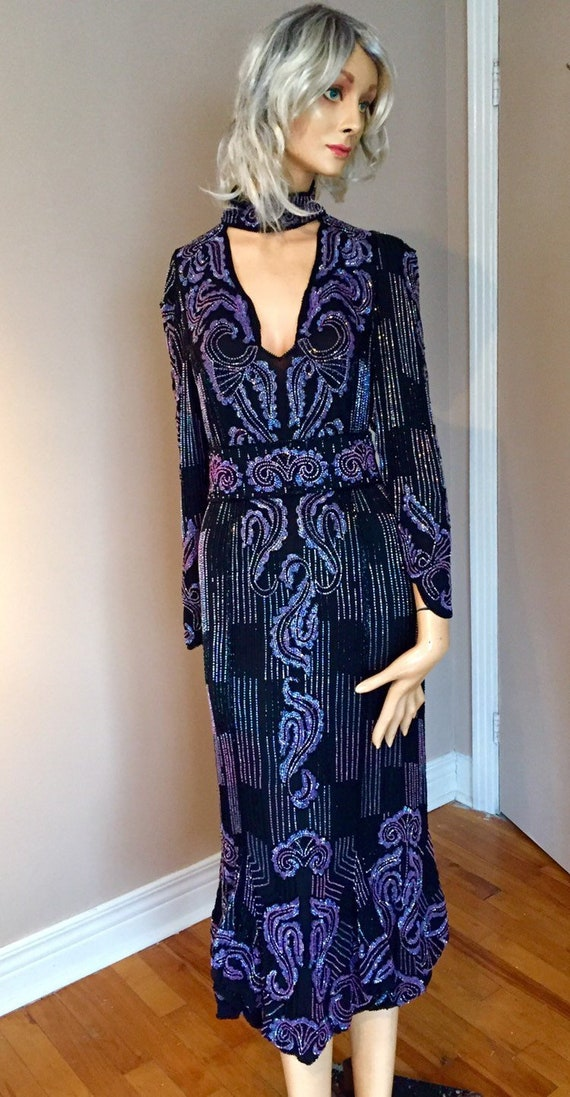 Vintage Eavis & Brown Beaded Silk Dress Lavender