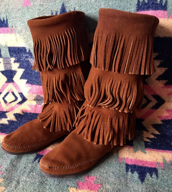 Minnetonka Moccassin Boots Fringed Suede - image 2