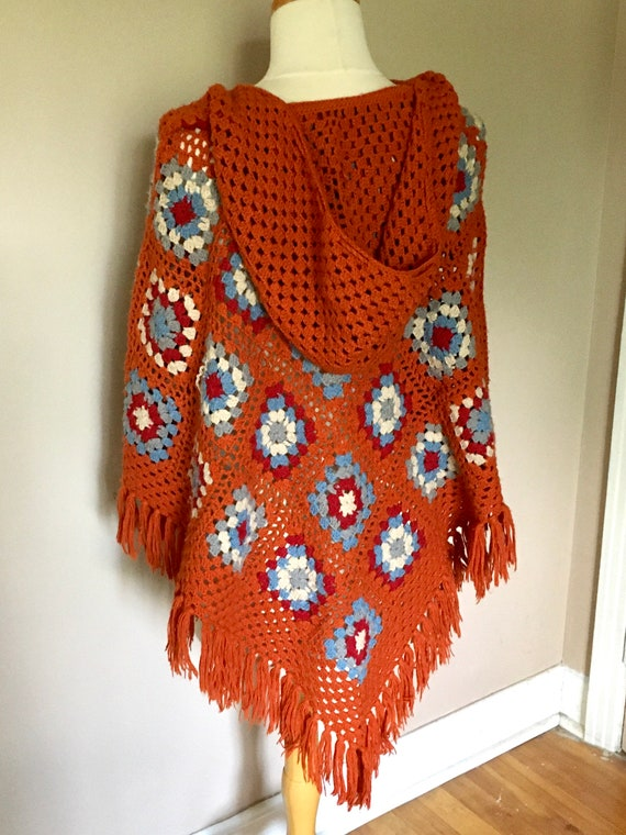Vintage Granny Square Poncho With Hood - image 3