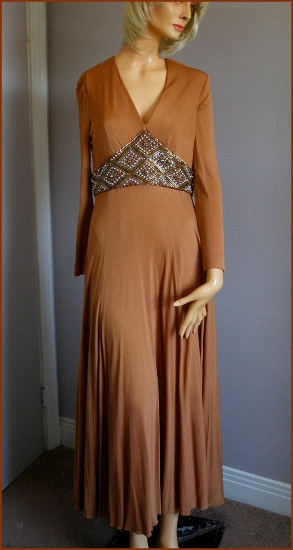 Vintage Jersey Knit Beaded Empire Waist Dress