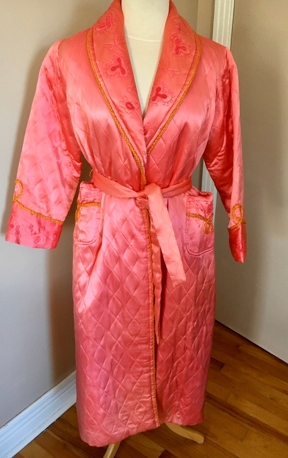 Vintage Retro Pink Quilted Robe Dressing Gown
