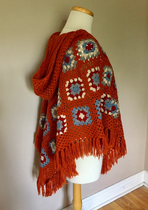 Vintage Granny Square Poncho With Hood - image 2