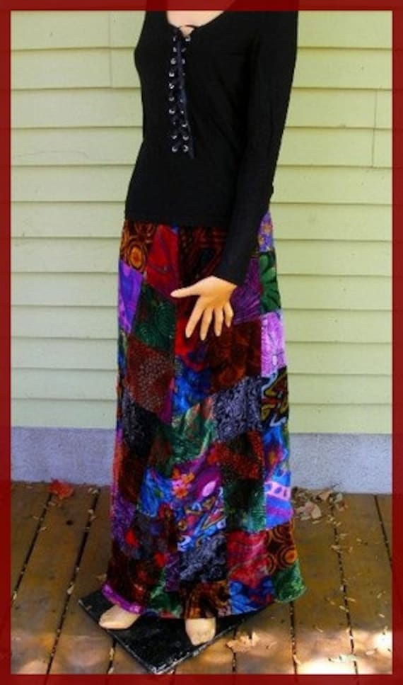 Vintage Velvet Patchwork Hippie Skirt Long Full Le