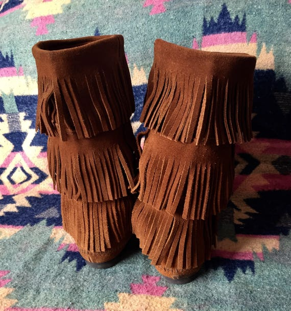 Minnetonka Moccassin Boots Fringed Suede - image 4