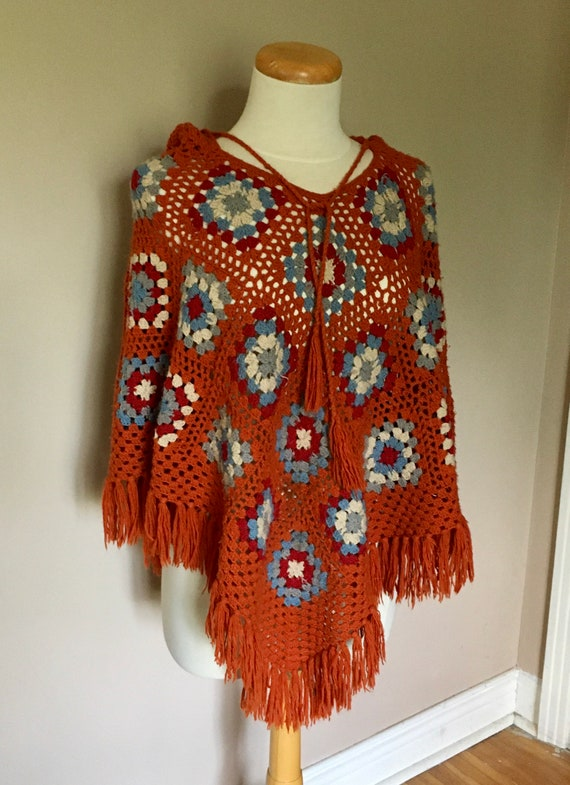Vintage Granny Square Poncho With Hood - image 1