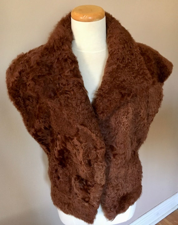Vintage Curly Wool Lamb Brown Quilted Vest