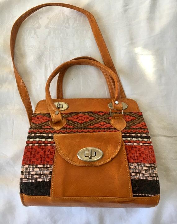 Vintage Leather Chenille Woven Purse Handbag