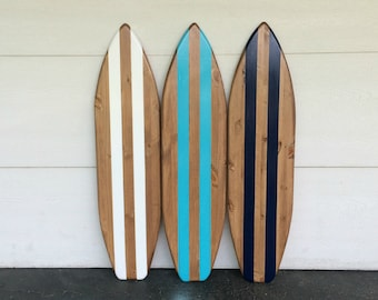 Set Of 3 Wood With Navy, Aqua And White Stripes Surfboard Wall Art Sign
