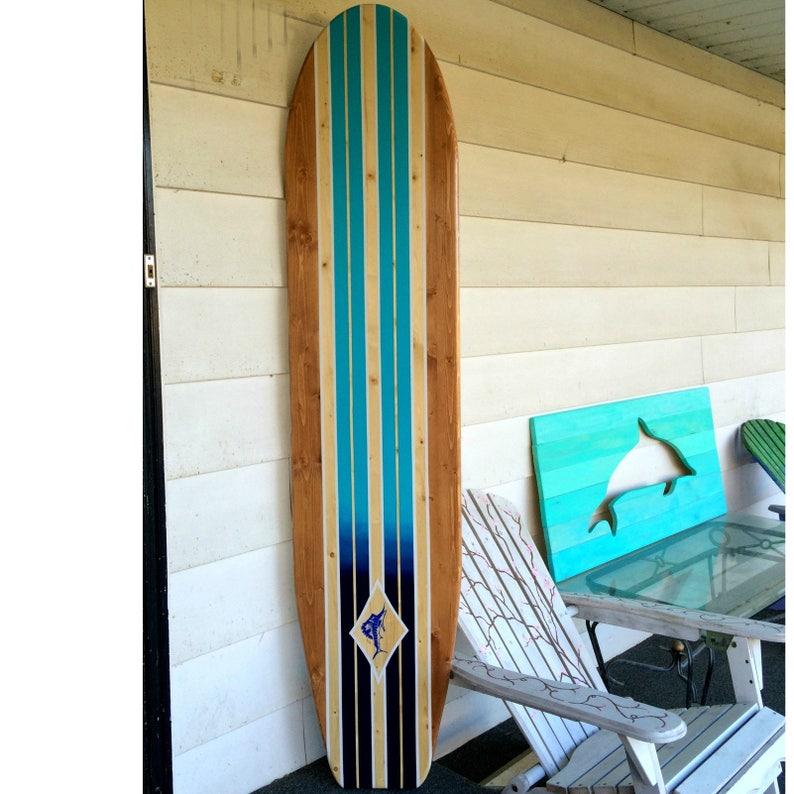 Longboard style with multiple stripes  Natural, stained, white, and ombre  blue stripes with diamond  Can customize or personalize