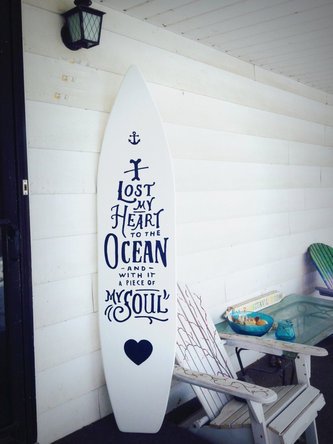 6 foot wood white surfboard wall hanging with quote I lost my | Etsy