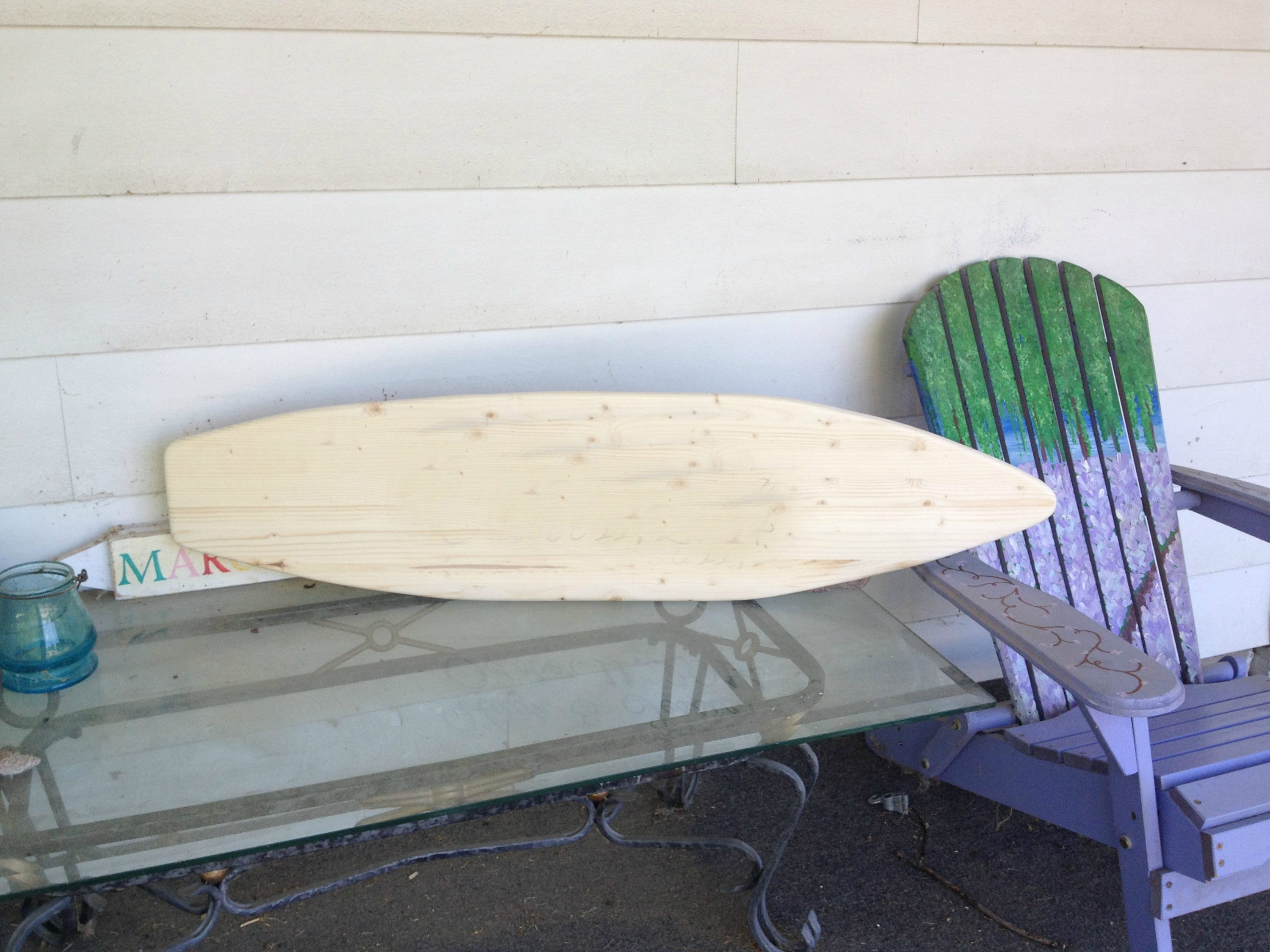 One Unfinished 4 foot wood surfboard wall art