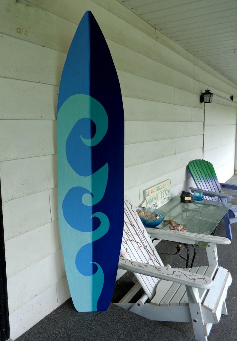 6 Foot Wood Hawaiian Surfboard Wall Art Decor or Headboard kids room two  tone wave sign