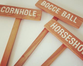 YARD GAME Signs, Party Signs, Wedding Game Signs, Family Reunion, BBQ, Bocce Ball, Croquet, Cornhole, Horseshoes, Lawn Games, Frisbee