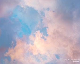 Heavenly Sky Cloudscape -Spring And Summer Nature Sky And Clouds Pastel Pinks & Blue -Home Decor Wall Art -Fine Art Photography Print