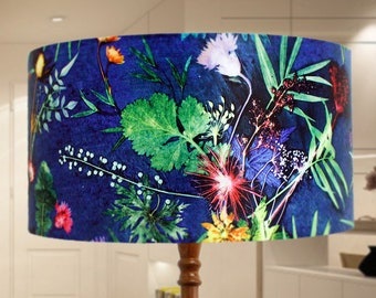 Indigo Tropical Lampshade, Light Shade for Ceiling, Pendant Hanging Lampshade, Lamp Shade for Table Lamp, Tropical Pattern Lampshade