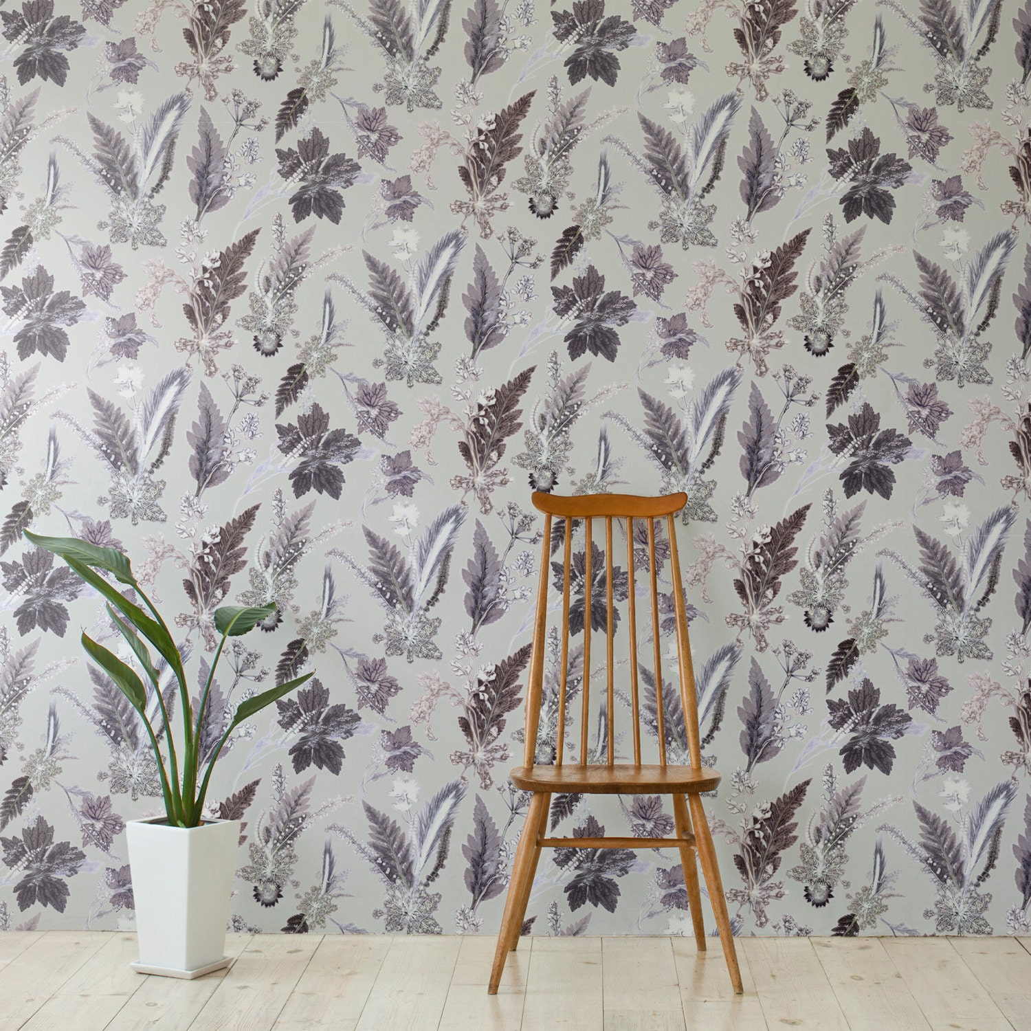 Floral Botanical Wallpaper Winter Flourish Design Bold Home Etsy
