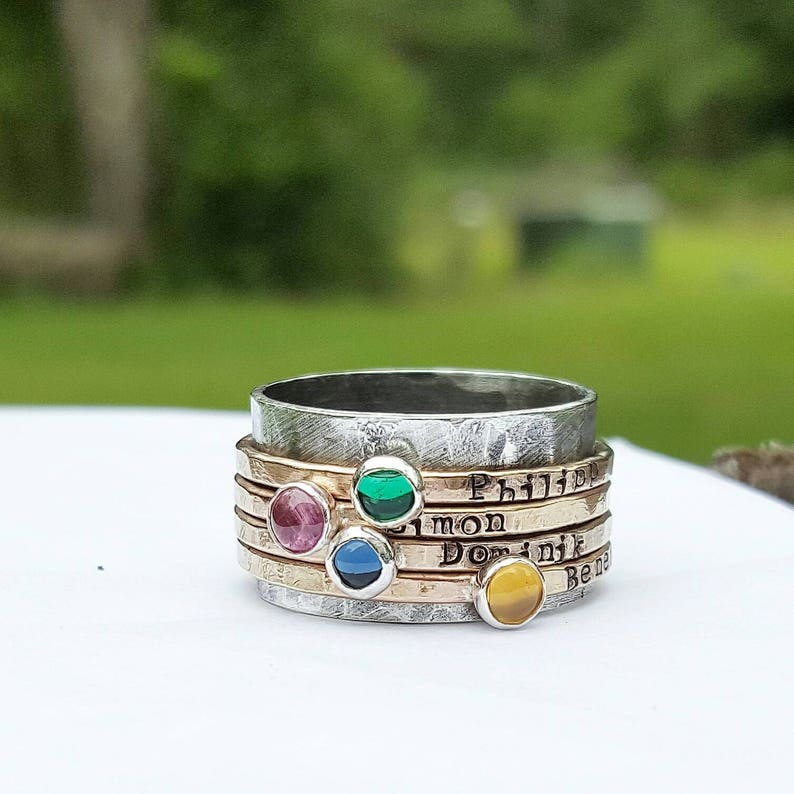 Personalized Gold mothers ring Mothers ring birthstones spinner ring custom hand stamped mothers ring anniversary ring gift