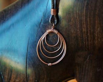 Copper Concentric Circle Pendant