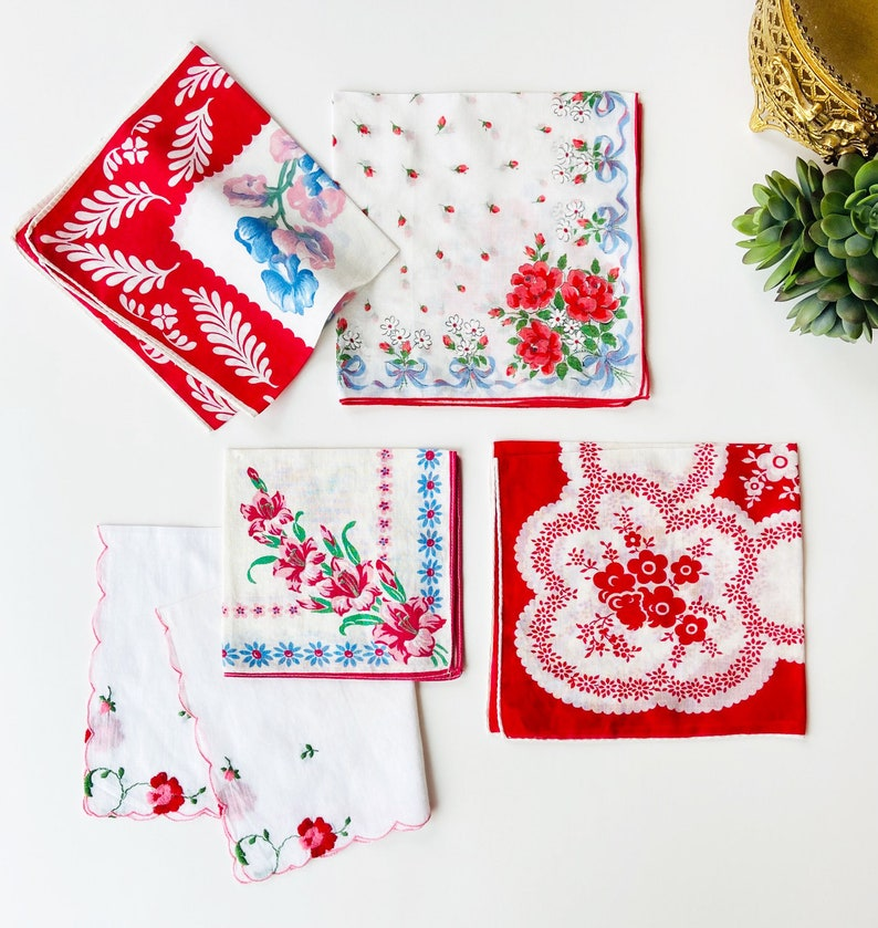 Handkerchiefs Floral Gift for Her Pocket Squares Set of 5 Easter Vintage Hankies Spring Wedding Red and White Ladies