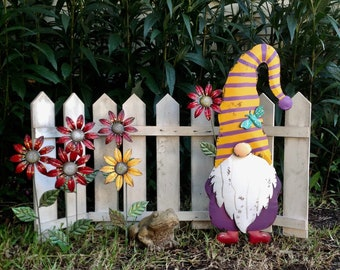 "Fall Gnome w/a Sunflower & Ladybug Garden Stake SHERMAN 30"" Tall - Hand Painted Gnome Fall Autumn Metal Garden Art - Metal Yard Art"